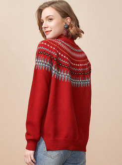 Half Turtleneck Pullover Print Sweater