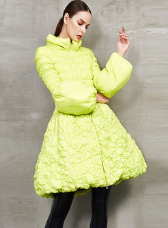 Lantern Sleeve Pleated A Line Puffer Coat