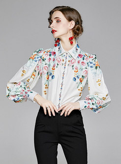 Puff Sleeve Print Retro Blouse