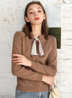 Polka Dot Ribbon Pullover Slim Sweater