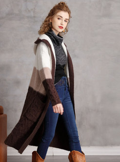 Hooded Color-blocked Straight Knitted Coat
