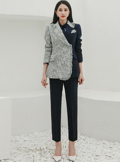 Notched Patchwork Fringed Pant Suits
