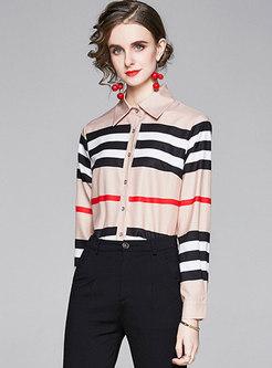 Lapel Color-blocked Striped Slim Shirt