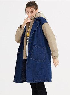 Color-blocked Denim Patchwork Hooded Down Coat