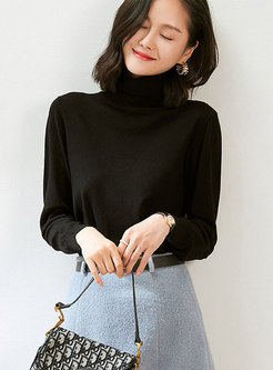Brief Solid Turtleneck Pullover Sweater