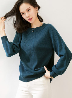 Crew Neck Bowknot Solid Pullover Sweater