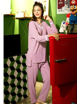 Color-blocked V-neck Knitted Pajama Set