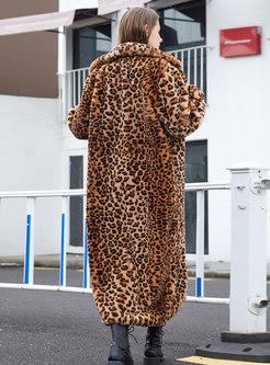 Lapel Leopard Long Straight Faux Fur Coat