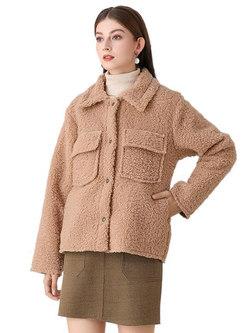Turn Down Collar Fleece Straight Coat
