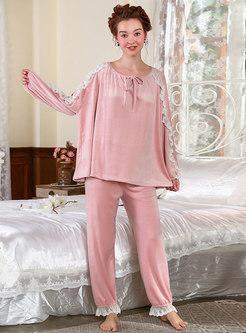 Crew Neck Lace Patchwork Loose Pajama Set
