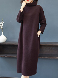 Turtleneck Shift Long Sweater Dress