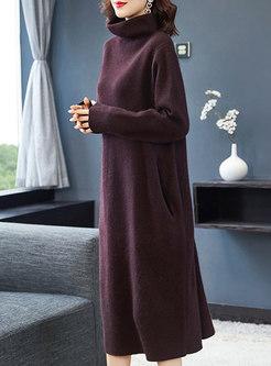 Turtleneck Shift Long Sweater Dress