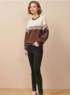 Crew Neck Pullover Color-blocked Sweater