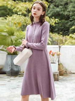 Mock Neck Long Sleeve Midi Sweater Dress