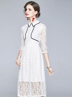 Color-blocked Openwork Lace A Line Midi Dress
