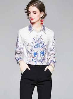 Turn Down Collar Print Single-breasted Shirt