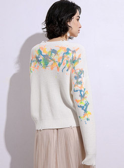 Crew Neck Ripped Tie Dye Pullover Sweater