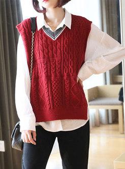 Sleeveless Pullover V-neck Sweater Vest
