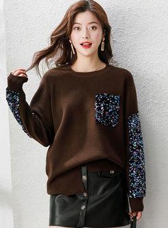 Crew Neck Pullover Sequin Loose Sweater