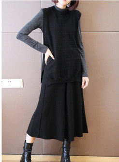 Crew Neck Sleeveless Wide Leg Knitted Pant Suits