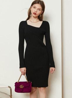 Long Sleeve Sheath Sweater Knee-length Dress