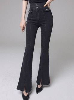 High Waisted Split Flare Denim Pants