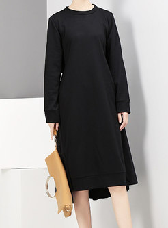 Crew Neck Patchwork Pleated T-shirt Dress