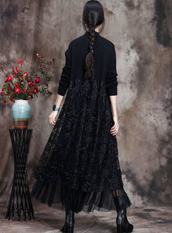 Lace Embroidered Patchwork Knitted Maxi Dress