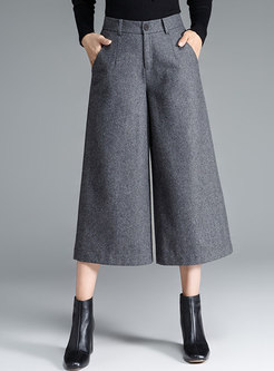 High Waisted Wide Leg Cropped Pants