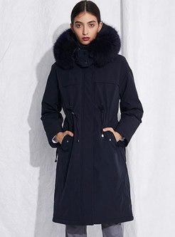 Removable Hooded Drawstring Straight Down Coat