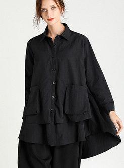 Plus Size Loose Turn Down Collar Blouse