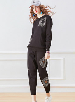 Casual Pullover Hot Drilling Knitted Pant Suits