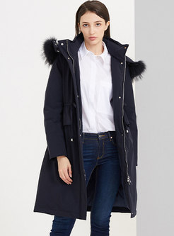 Removable Hooded Drawstring Down Coat
