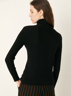 Turtleneck Pullover Ribbed Slim Sweater