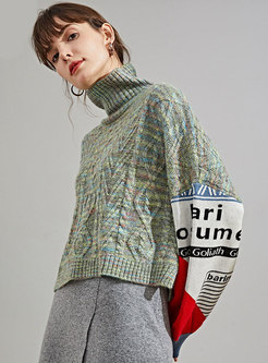 Letter Print Color-blocked Cropped Sweater