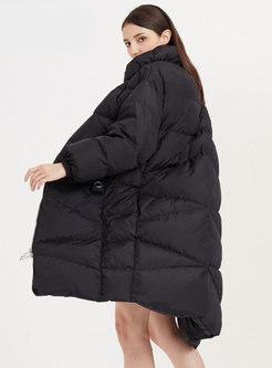 Mock Neck Straight Long Duck Down Coat