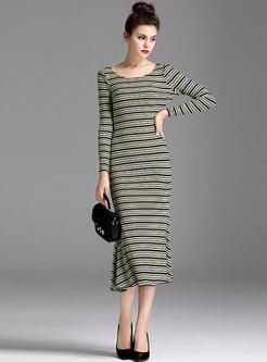Long Sleeve Striped Sweater Peplum Dress