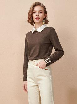 Color-blocked Lapel Pullover Slim Sweater