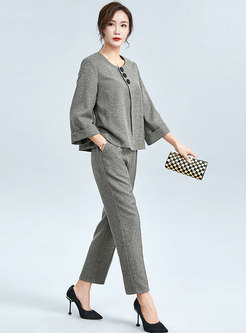 Crew Neck Split Pullover Harem Pant Suits