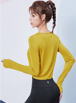 Crew Neck Pullover Cropped Ruched Tops