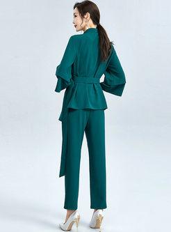 Mock Neck Asymmetric Blouse & Straight Pants