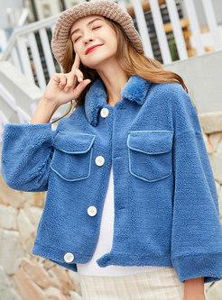 Turn Down Collar Single-breasted Coat