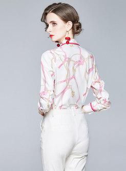 Print Single-breasted Bowknot Slim Blouse