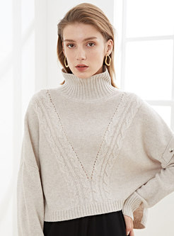 Turtleneck Pullover Openwork Cropped Sweater