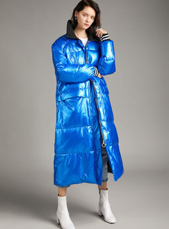 Color-blocked Mock Neck Shiny Puffer Coat