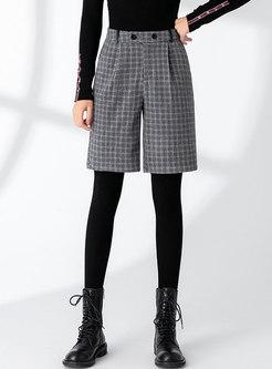 High Waisted Plaid Straight Shorts