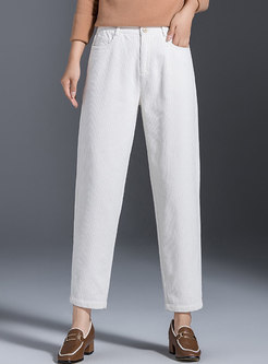 Solid High Waisted Corduroy Harem Pants
