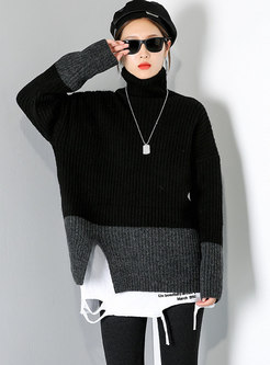 Turtleneck Color-blocked Patchwork Sweater