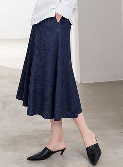 Blue High Waisted Denim A Line Skirt