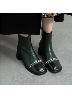 Square Toe Chain Patchwork Ankle Boots